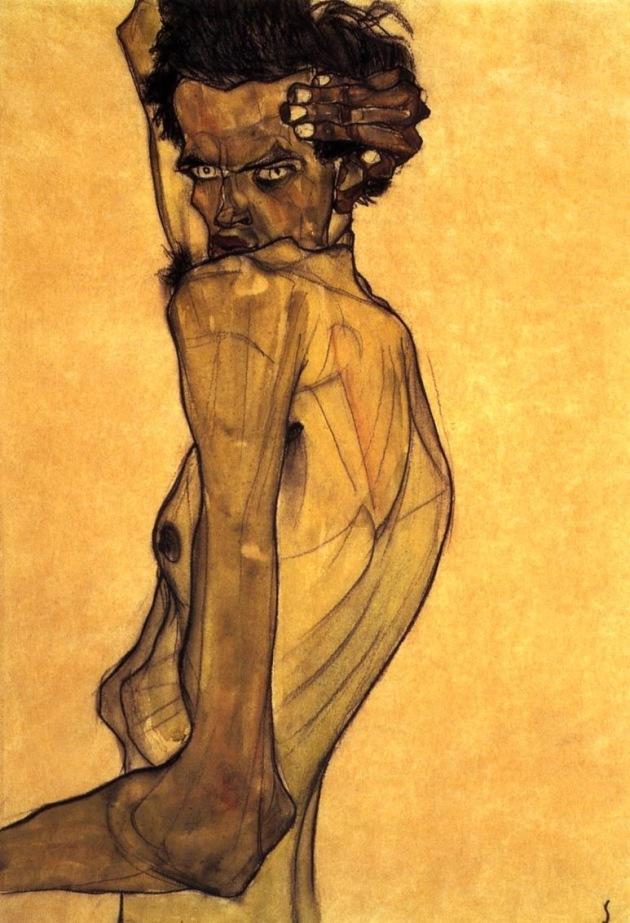 Self Portrait with Arm Twisting above Head, Egon Schiele